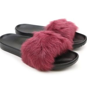 NEW! UGG Royale Maroon Shearling Fuzzy Fur Slides